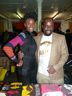 Gray Rwanga with Shingai Shoniwa at AGO Xmas 2011 [Image courtesy of Blackarmoor Clothing]