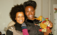 Shingai Shoniwa [The Noisettes] with Tata and Friends at The 2011 Afridiziak Gifts and Occasions Xmas shopping boutique - [image Cotton Candy Flamingo]