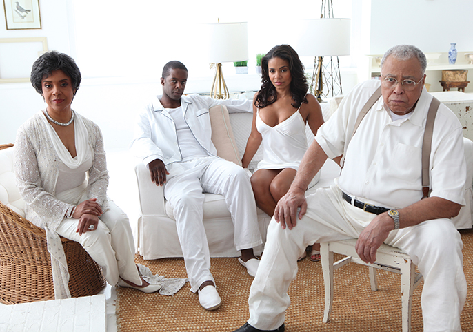 Phylicia Rashad (Big Mama), Adrian Lester (Brick), Sanaa Lathan (Maggie), James Earl Jones (Big Daddy) in Cat On A Hot Tin Roof, photo credit Jeff Fasano