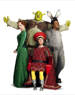 Amanda Holden as Princess Fiona, Nigel Lindsay as Shrek, Nigel Harman as Lord Farquaad & Richard Blackwood as Donkey in Shrek The Musical. Photo © by Jason Bell