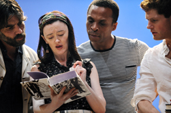 Alan Westaway (Sebastian), Bronagh Gallagher (Tatyana), Jude Akuwudike (Lawrence) and Kyle Soller (Tom). Picture by Stephen Cummiskey