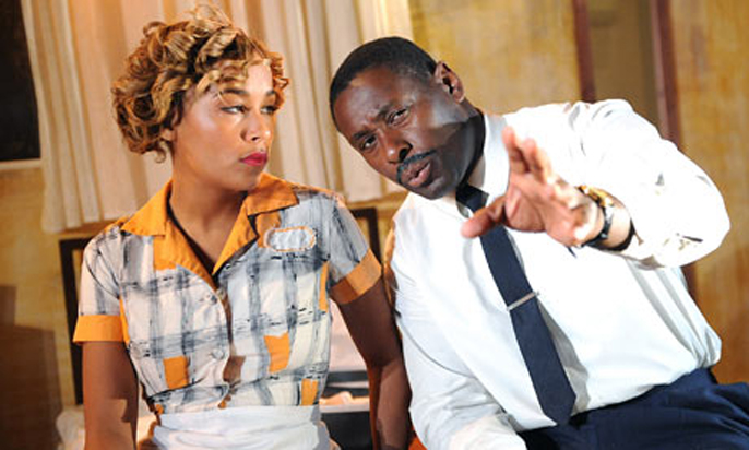 Lorraine Burroughs as Camae and David Harewood as Martin Luther King in The Mountaintop. Photograph: Tristram Kenton