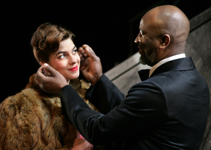 Natalia Tena (Desdemona) and Patrice Naiambana (Othello) in Othello Photo by Simon Annand